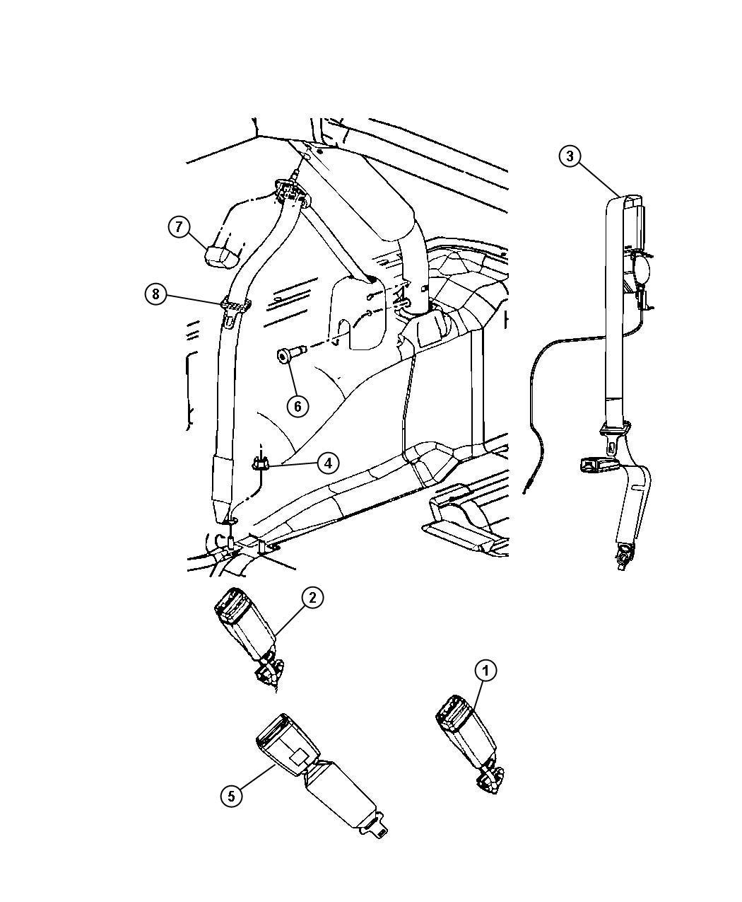 2017 Jeep Wrangler Seat belt. Right. Retractor. Trim: (*o0