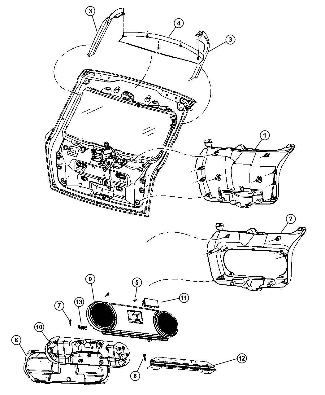 Dodge Caliber Panel. Liftgate trim. [dv], [v3]. Trim: [all
