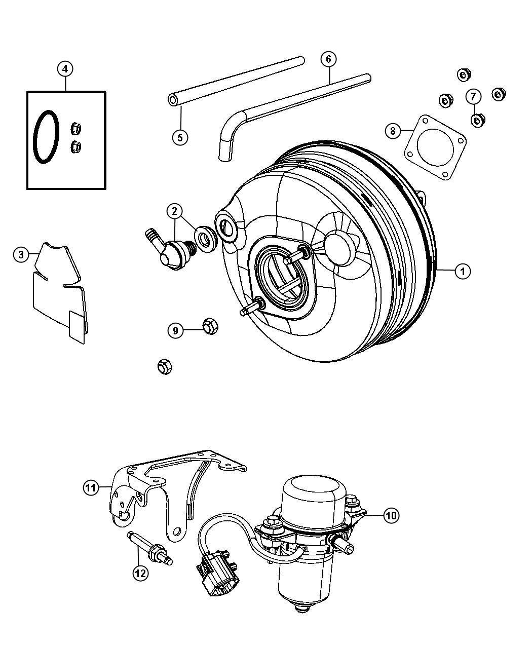 Dodge Grand Caravan Hose Brake Booster Vacuum 2 8l I4