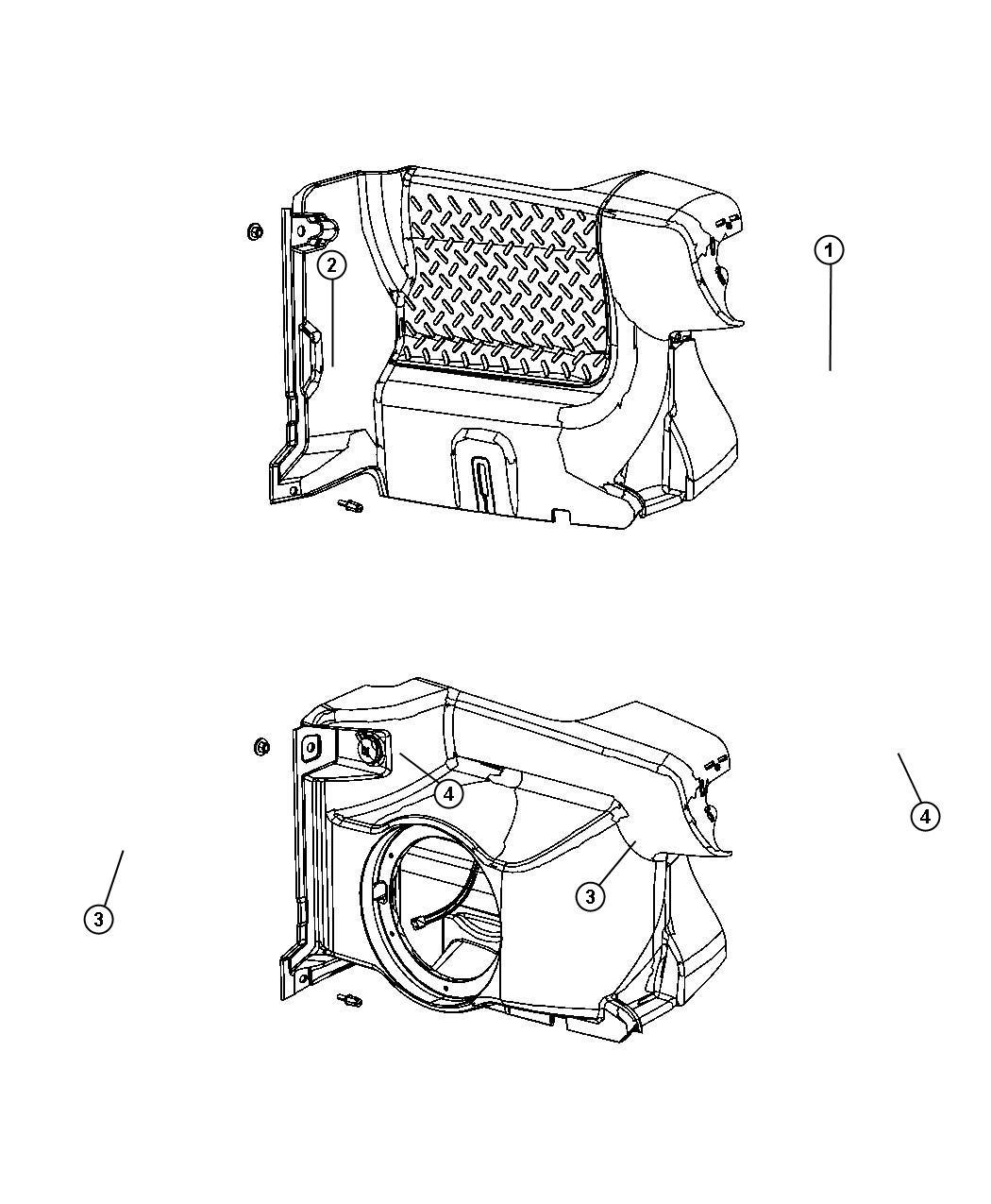 Jeep Wrangler Panel. Quarter inner lower. Right. [x9][8