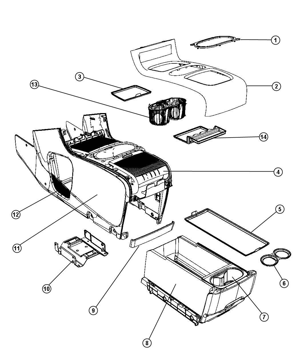 2012 Dodge Grand Caravan Mat. Floor console. Trim: [no