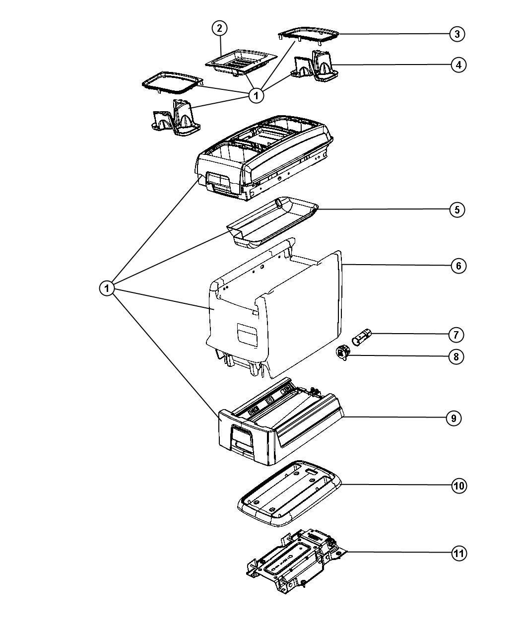 Dodge Grand Caravan Tray. Floor console. [black], [black