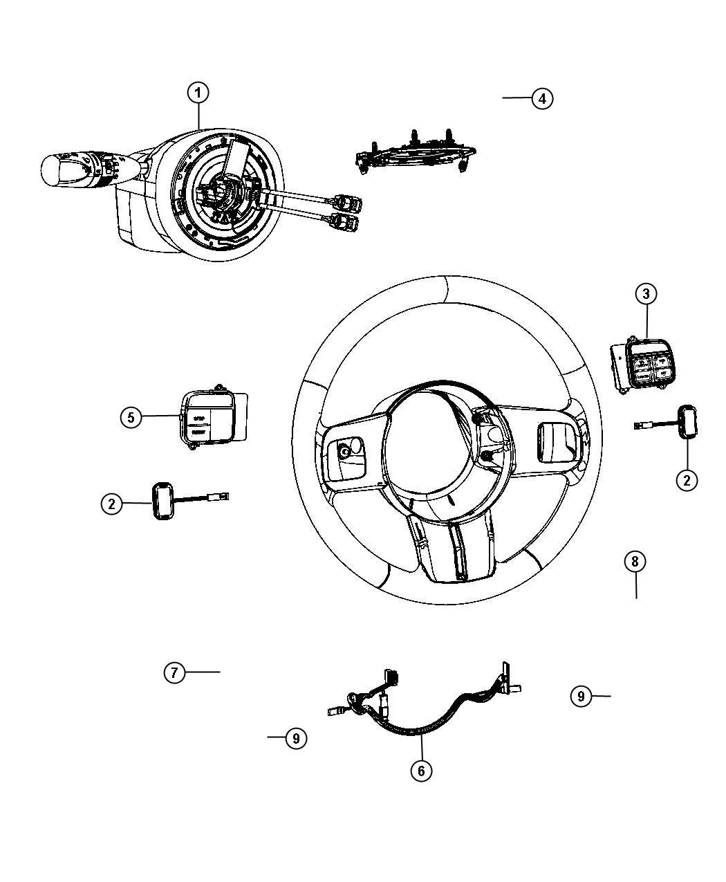 Jeep Grand Cherokee Wiring. Steering wheel. Export. Trim