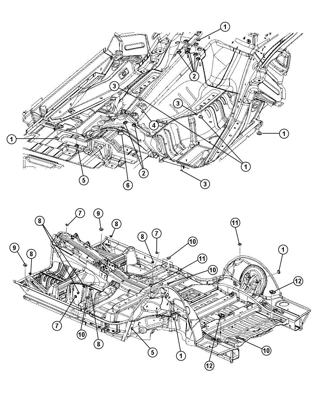 2012 Dodge Durango Plug. Floor pan. Front floor pan