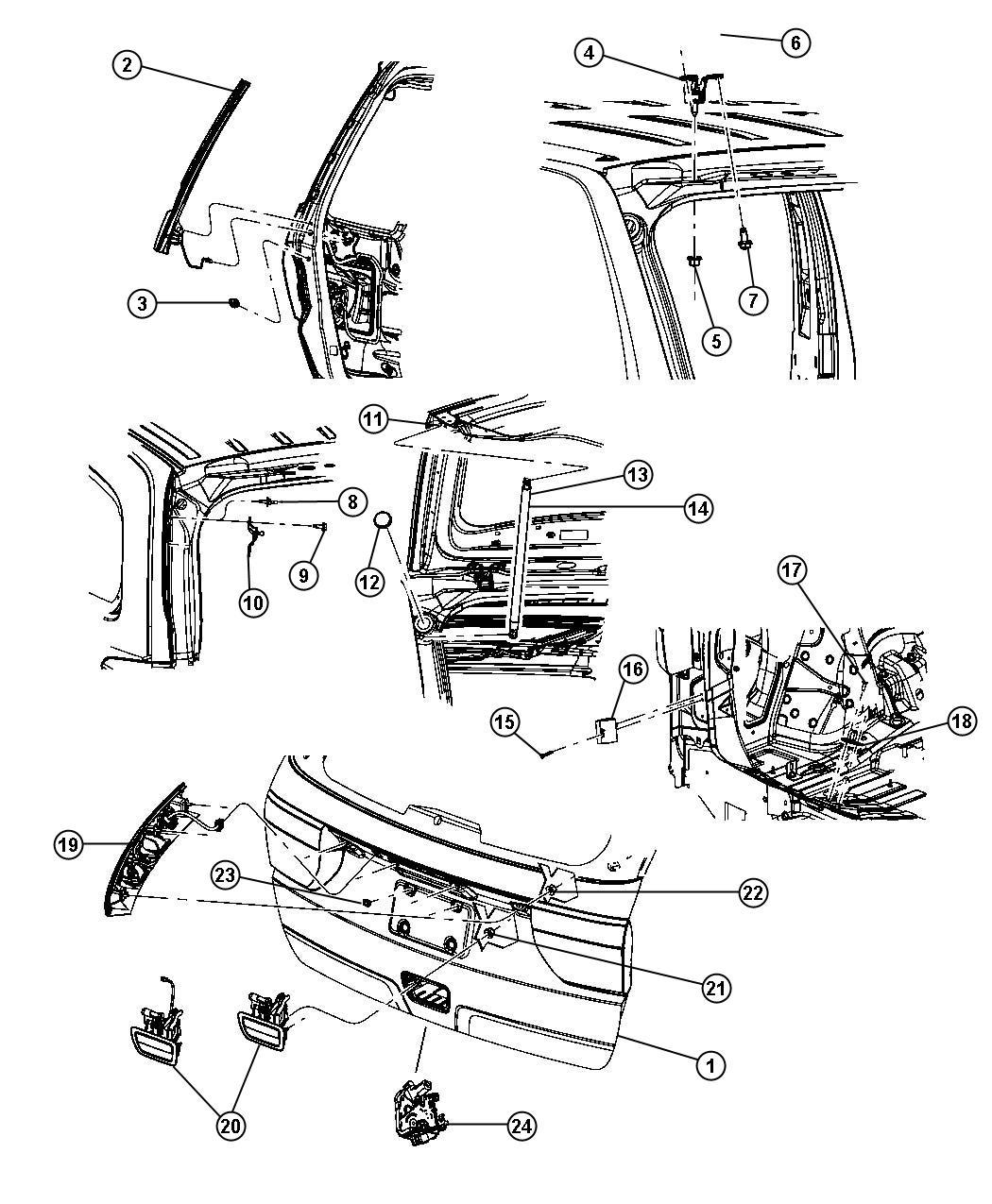 2011 Dodge Magnum Applique, handle. License lamp, liftgate