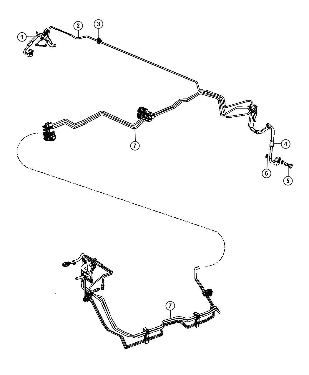 Dodge Durango Tube. Brake. Rear crossover. Hoses, tubes