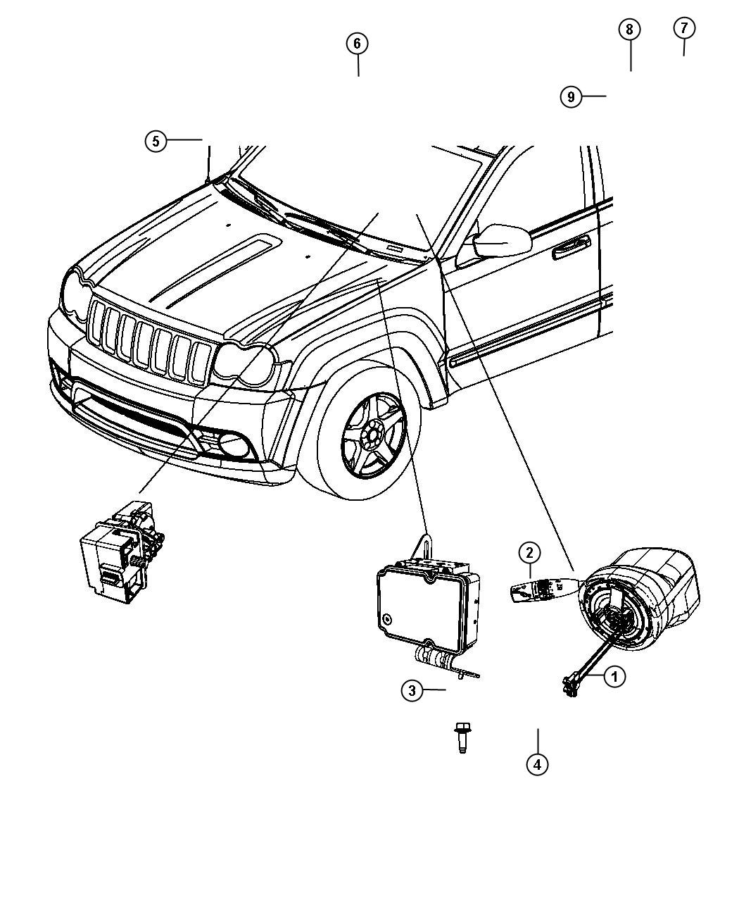 Jeep Grand Cherokee Module Steering Column Steering
