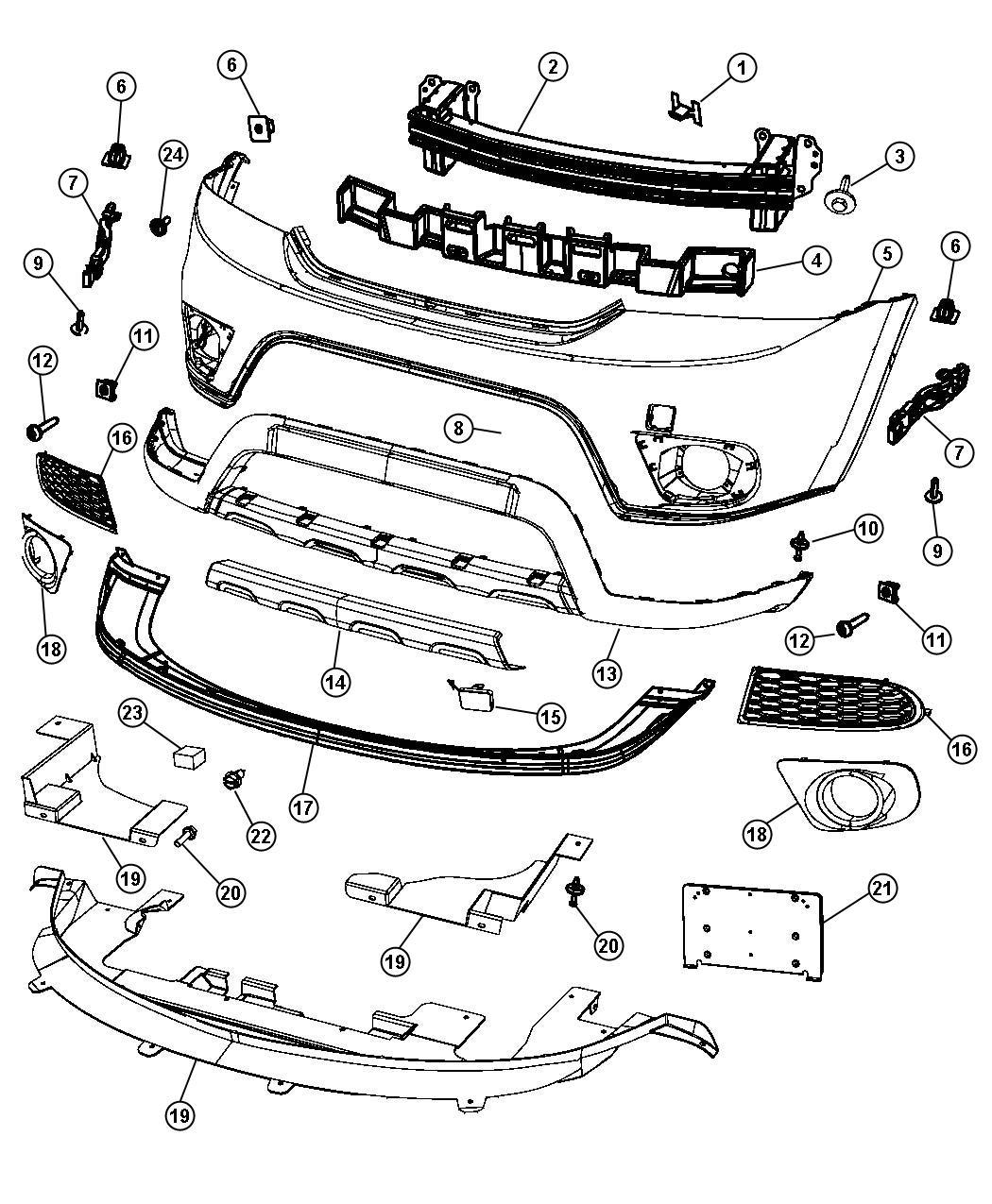 2012 Dodge Journey Reinforcement. Front bumper. Export