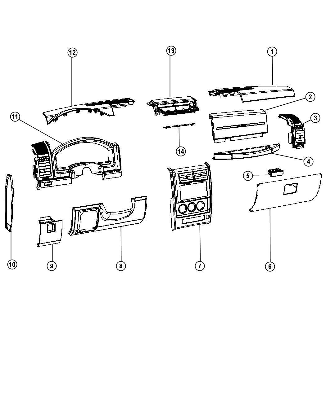 Jeep Liberty Glove box. Instrument panel. [dark slate gray