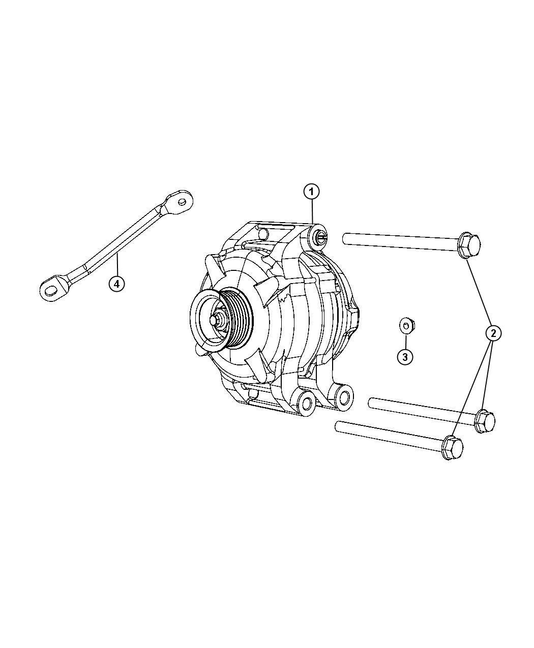 Chrysler 300 Strut. Alternator bracket. Engine, side, rwd