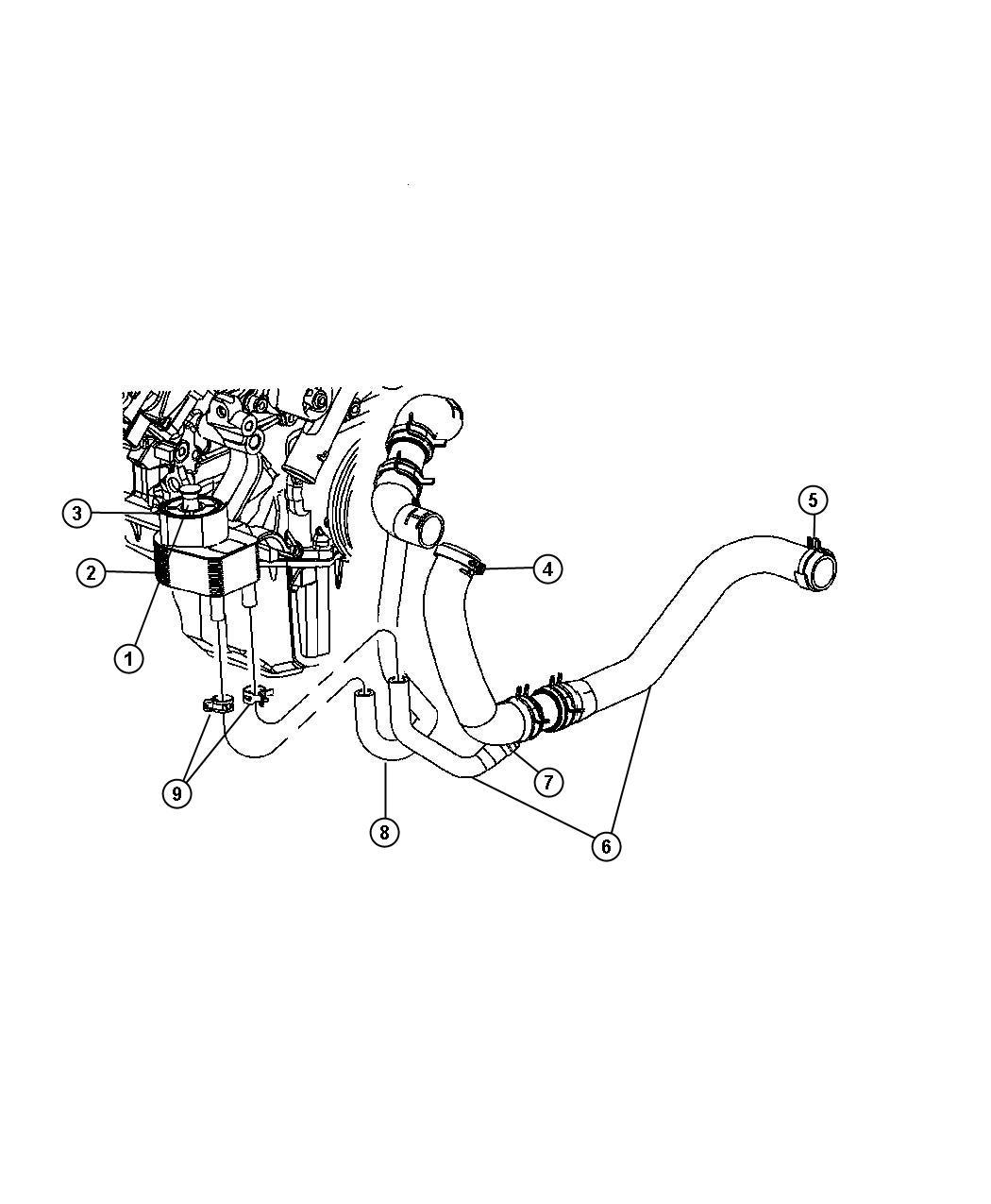 2012 Chrysler 300 Hose. Engine oil cooler supply. [police