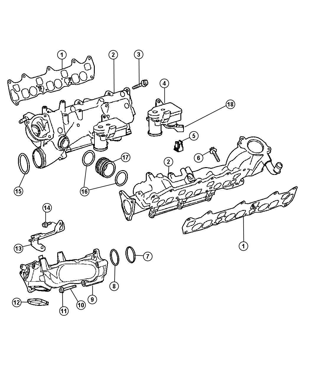 Jeep Compass Plenum. Intake manifold. Right. Diesel