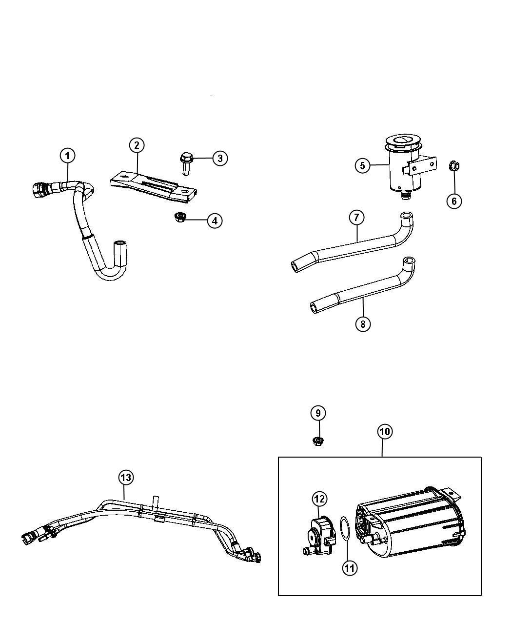 Dodge Caliber Canister. Vapor. Emissions, export, state