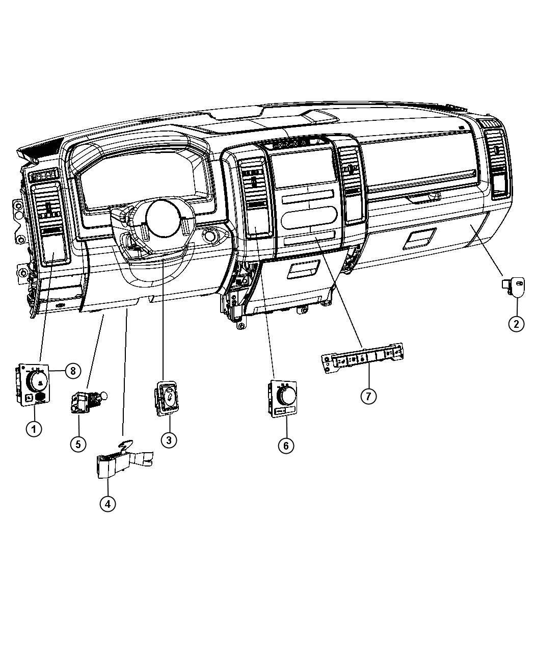 2012 Dodge Ram 2500 Switch. Instrument panel. [jkv], [xaa