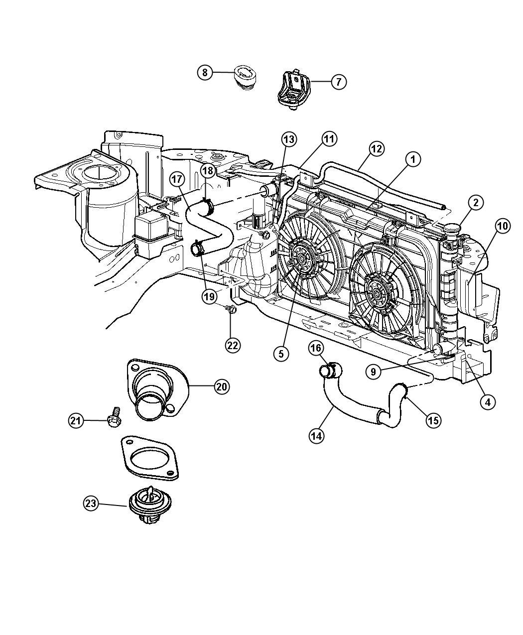 2007 Chrysler Town & Country Radiator. Engine cooling
