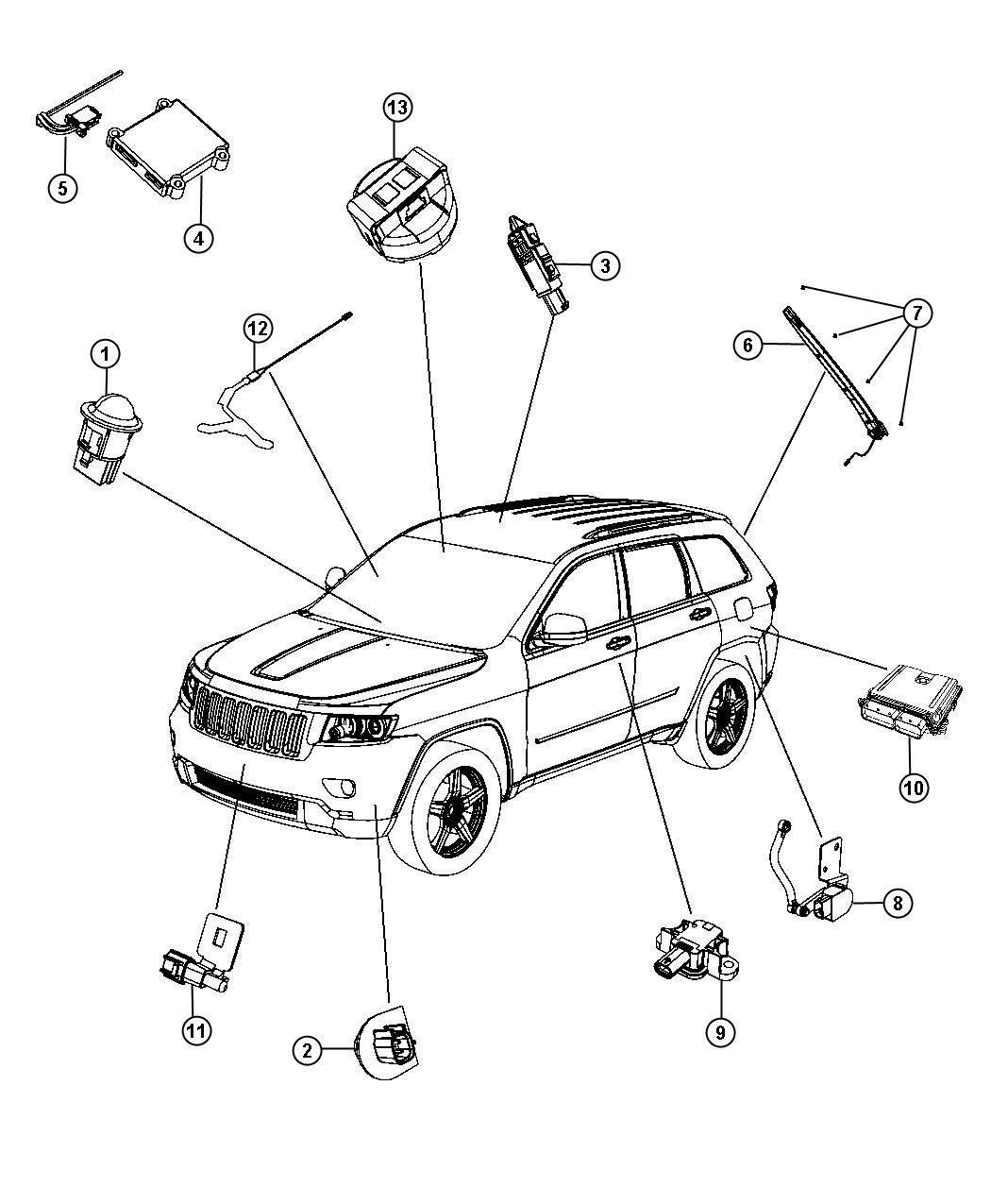 2012 Jeep Grand Cherokee Clip. Sensor. Pinch sensor holes