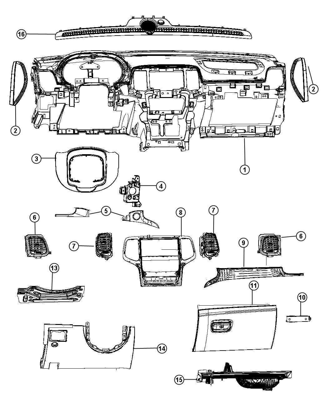 2013 Dodge Durango Bracket. Instrument panel. Winfob