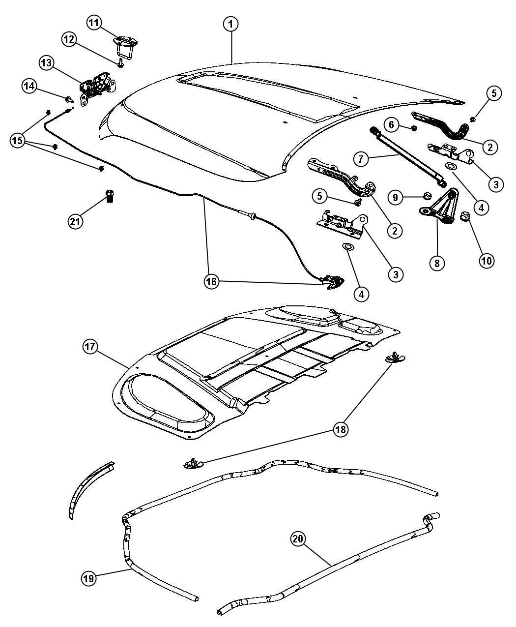 2011 Dodge Latch. Hood. [front end parts module]. Start