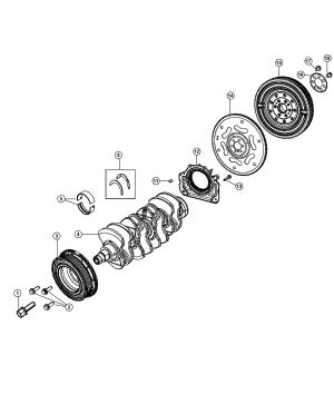 2012 Fiat 500C Bearing Crankshaft thrust Red Bearings, damper, flywheel  04892757AA   Mopar