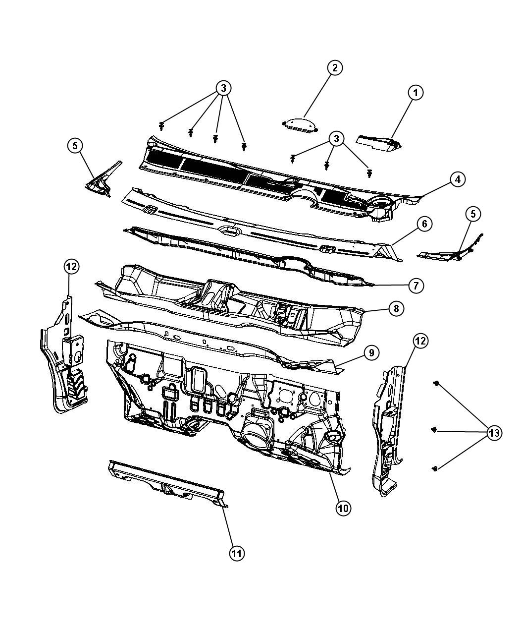 Dodge Dart Silencer Dash Panel Cowl Plenum Upper Fuel