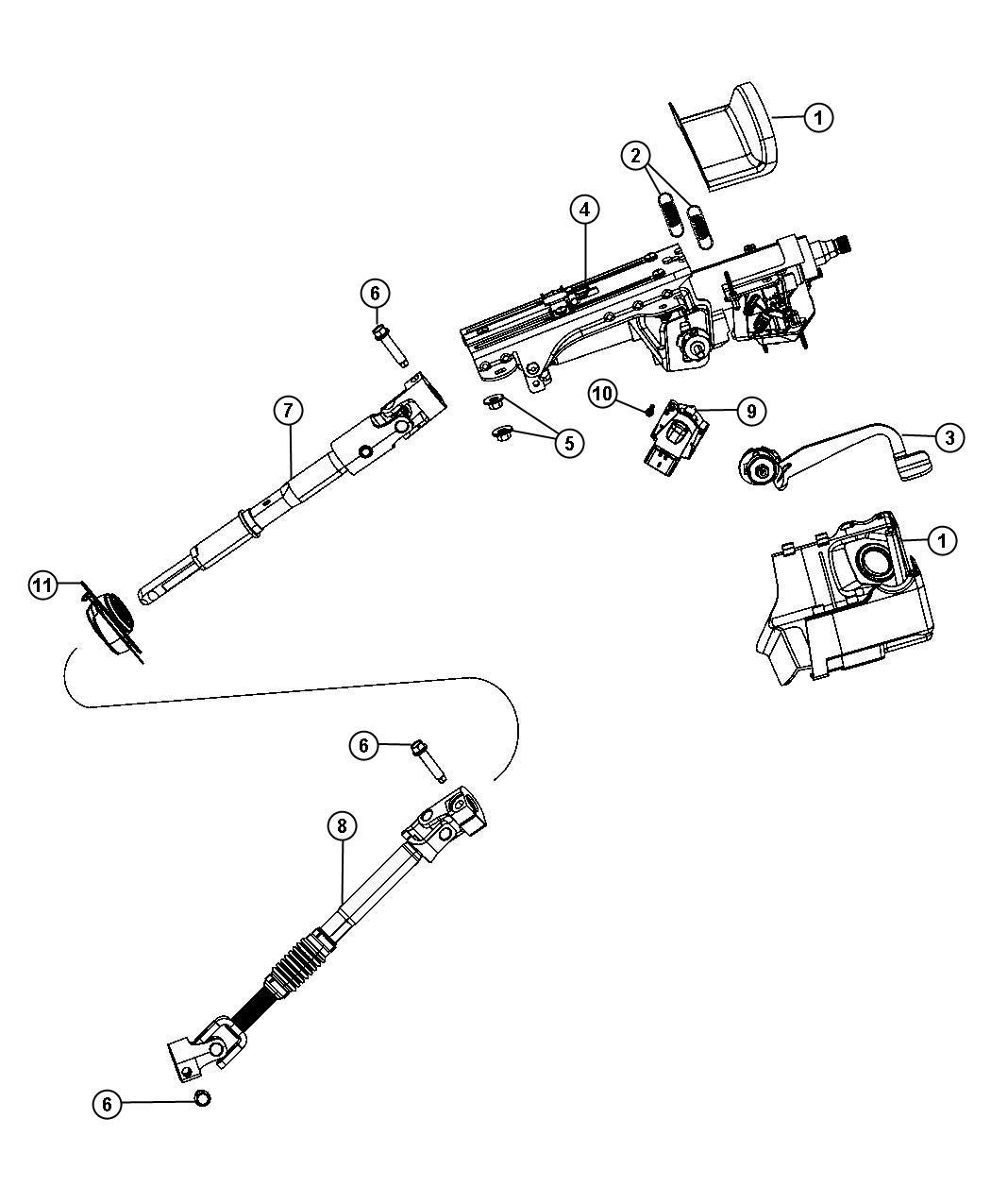 Jeep Wrangler Shaft Steering Column Intermediate