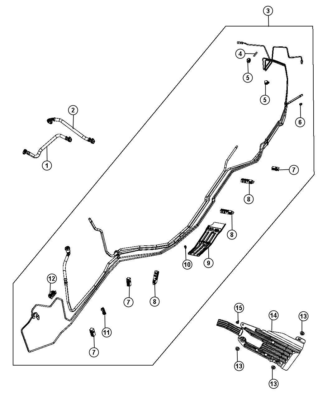 2013 Dodge Durango Clip. 2 way. Brake tube. Fuel, lines