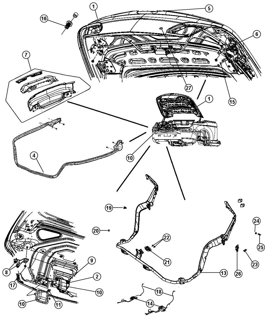 2007 Chrysler Sebring Striker. Decklid latch. Before 1/8
