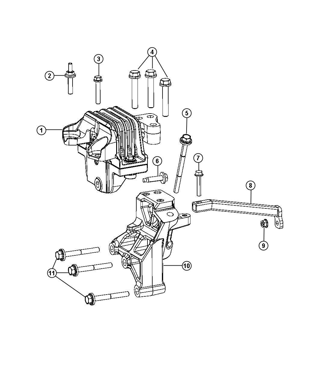 Dodge Journey Bracket. Engine mount, torque strut. [4