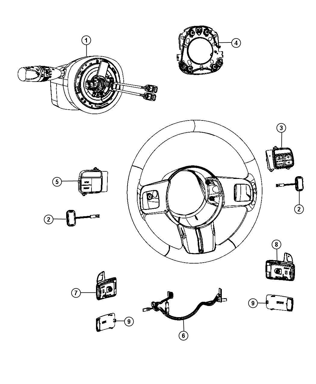 2013 Jeep Grand Cherokee Wiring. Steering wheel. Export