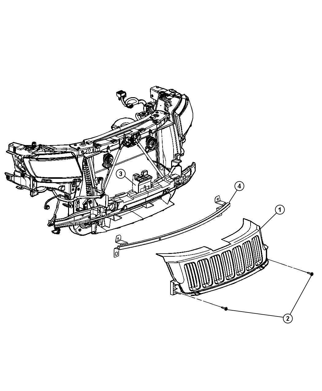 2013 Jeep Grand Cherokee Reinforcement. Grille. Ehw, exn