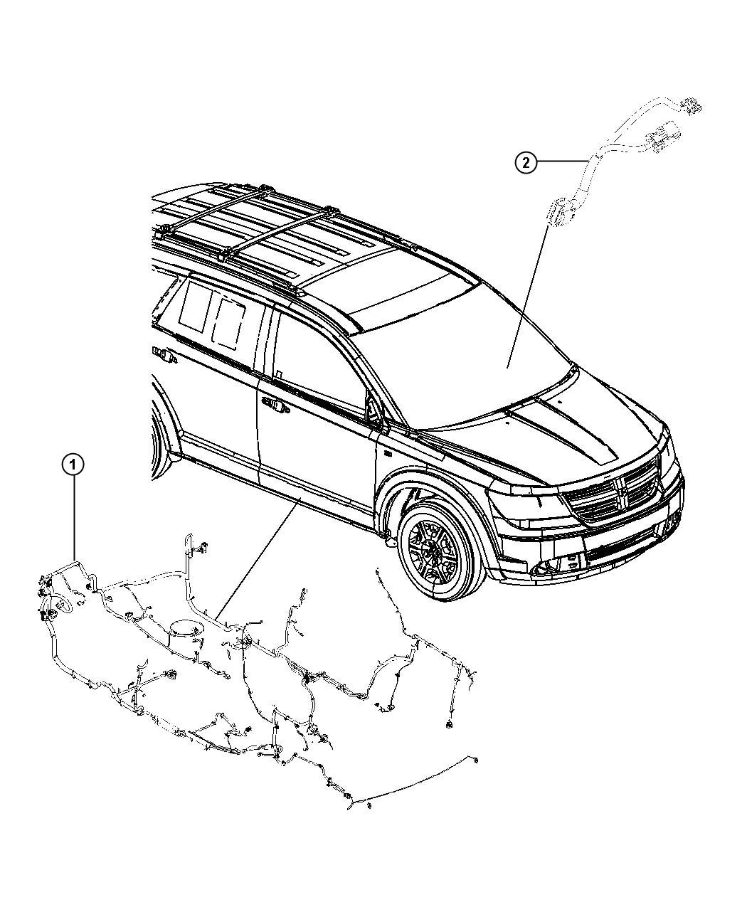 Dodge Journey Wiring. Unified body. Rear, outlet