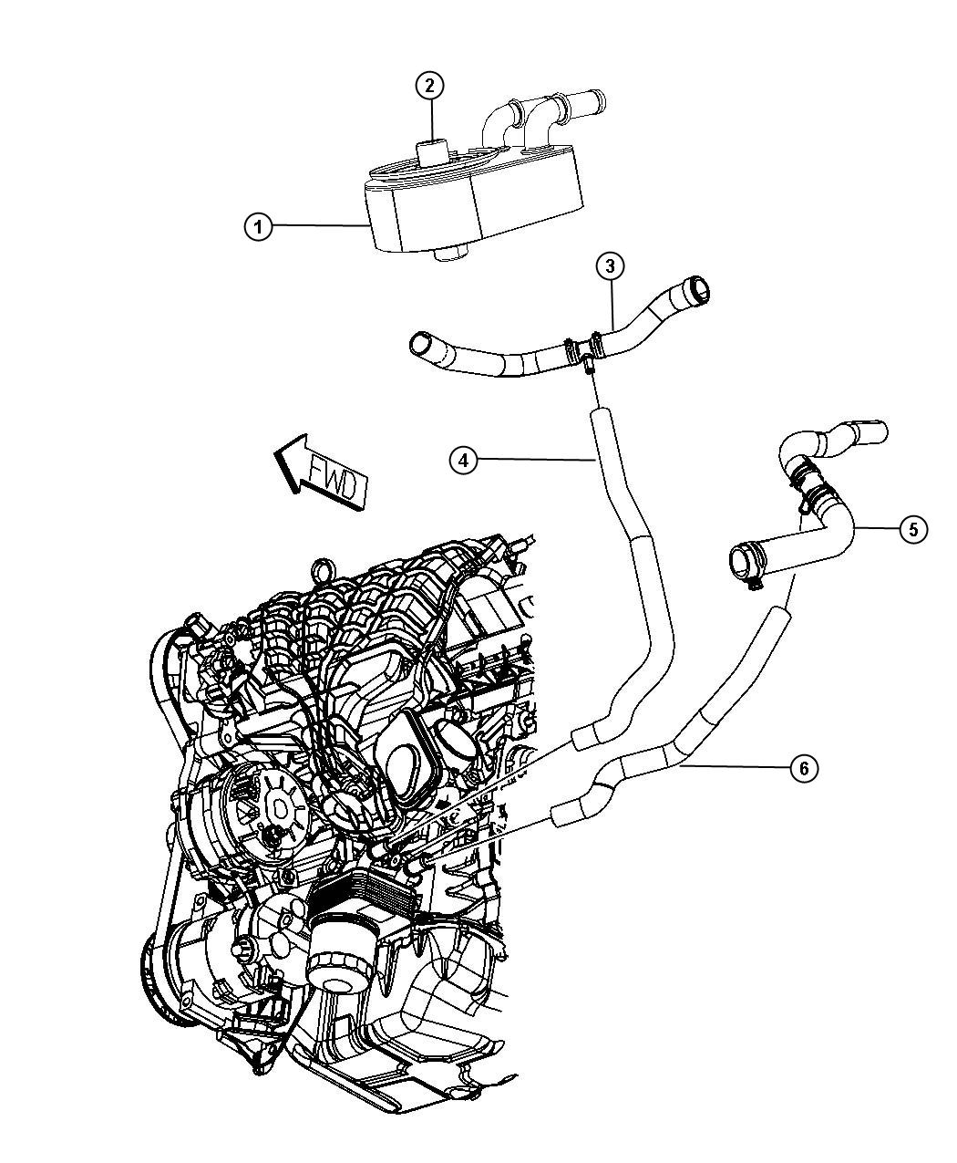 Dodge Journey Hose Radiator Outlet Engine Oil