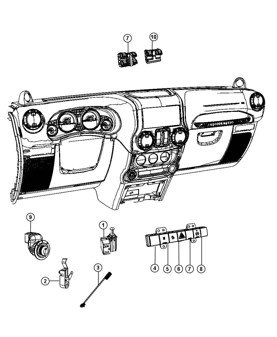 Jeep Wrangler Switch. 5 gang. [bnb], [jkv], [jpm], [bnh