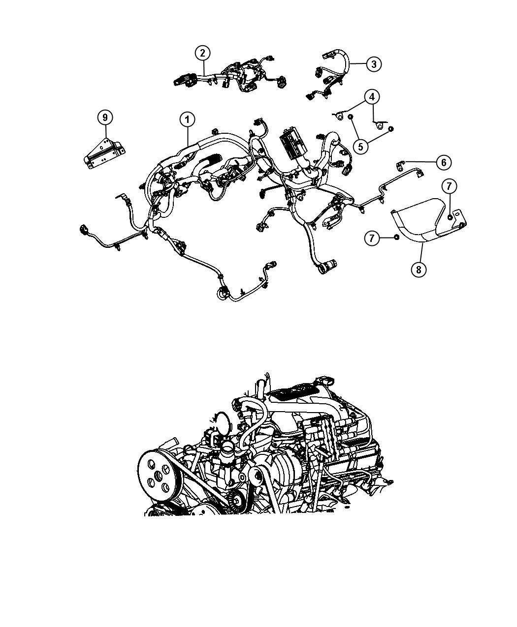 Jeep Wrangler Shield. Heat. Wiring. Engine, mopar