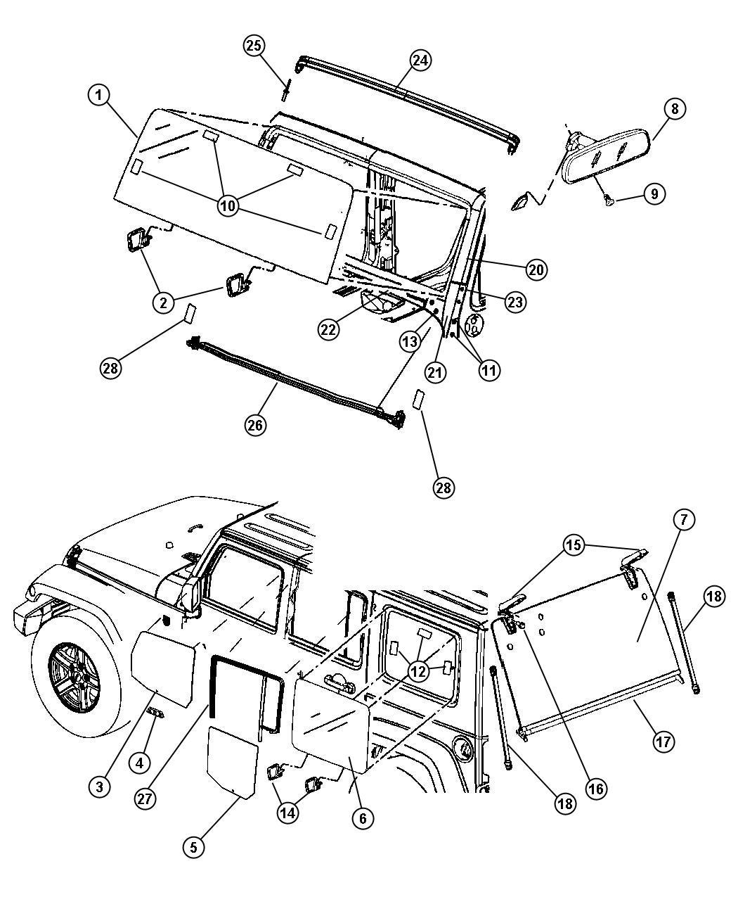 Jeep Wrangler Backlite Includes Hinge Gcd Gfa Vk0 Gcd Mx1 Or Mx3