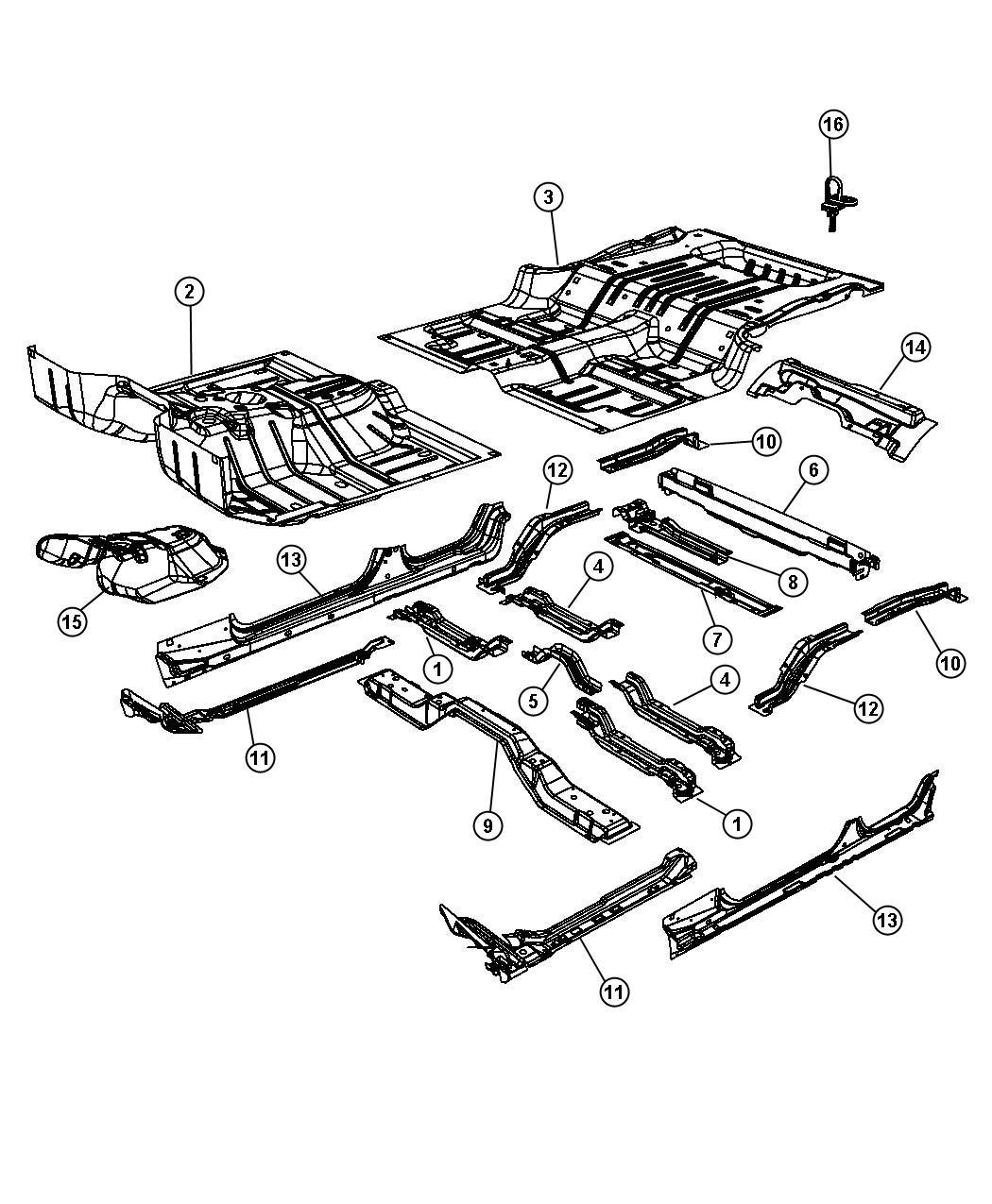 2013 Jeep Wrangler Insulation. Floor. [3.0l v6 24v vvt
