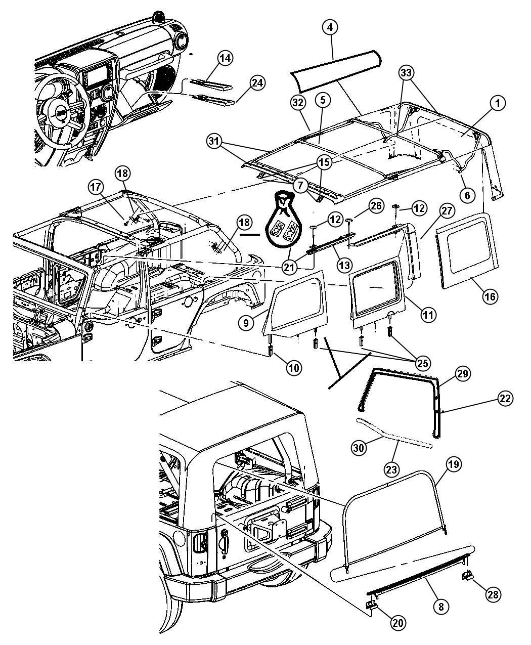 Jeep Wrangler Tape kit. Foam. Header. Top, dual, soft