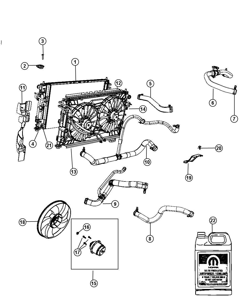 2007 Chrysler Sebring Hose. Radiator inlet. [nha]. Cooler