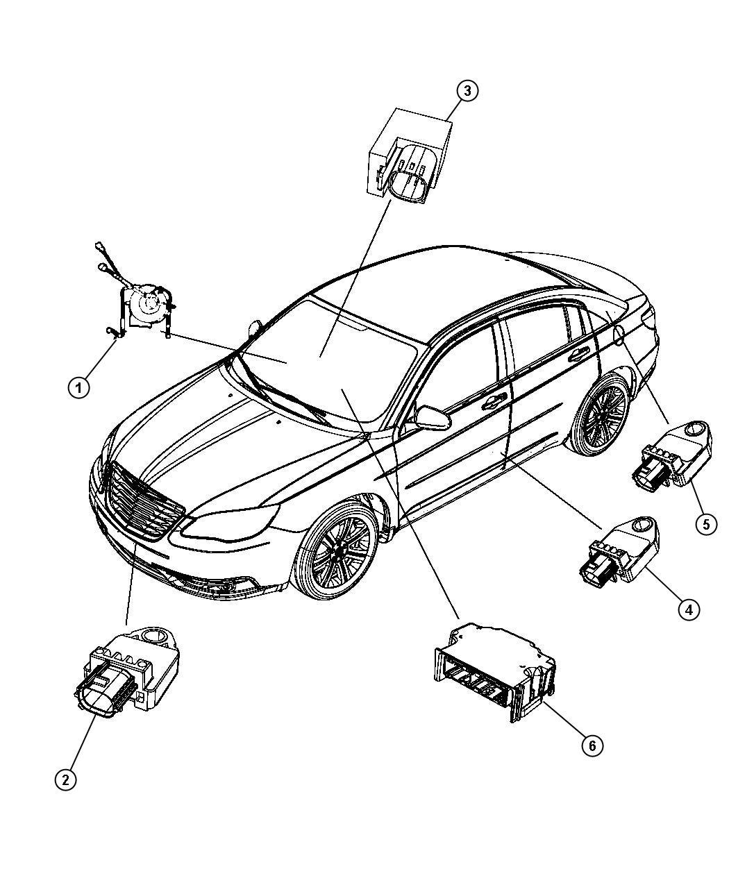 2013 Chrysler 200 Module. Air bag control, occupant