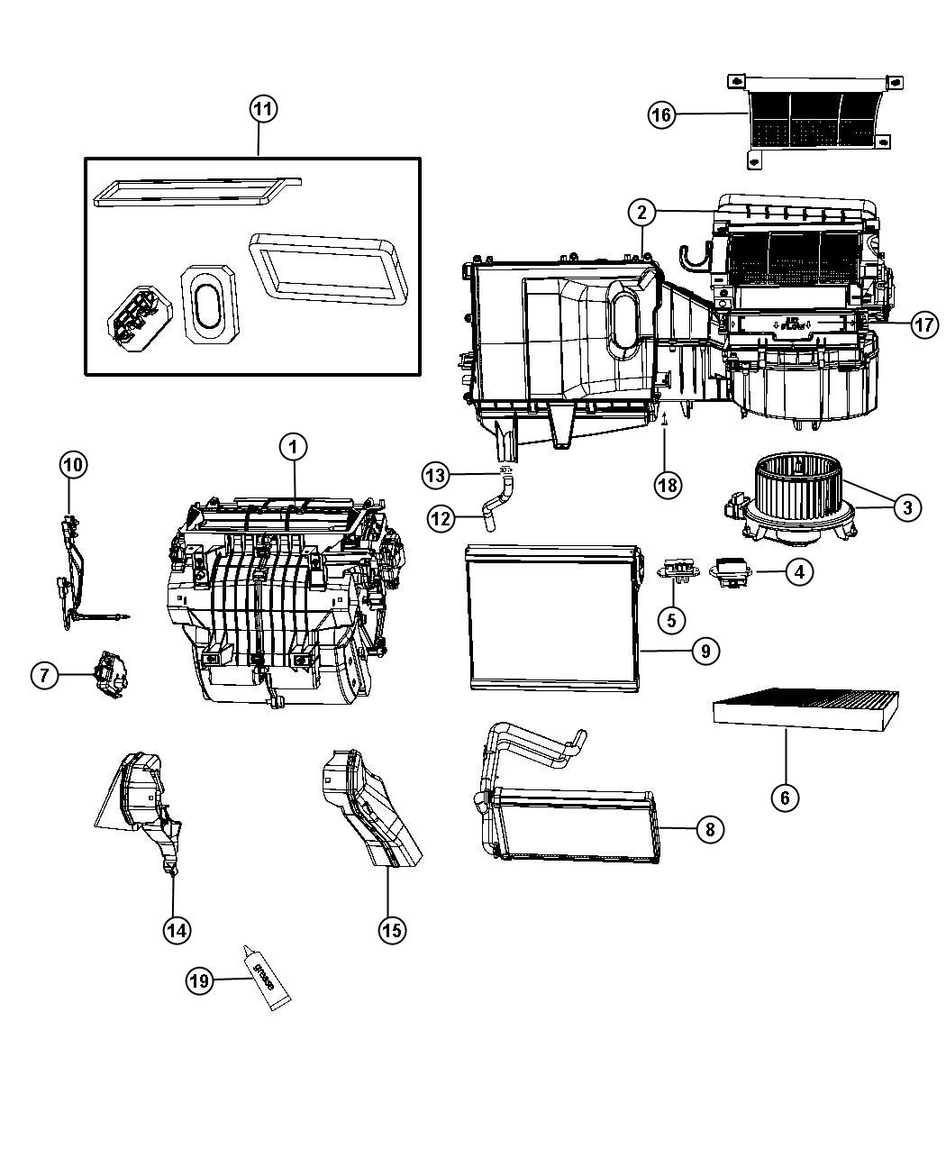 2011 Dodge Express Seal kit. A/c and heater unit