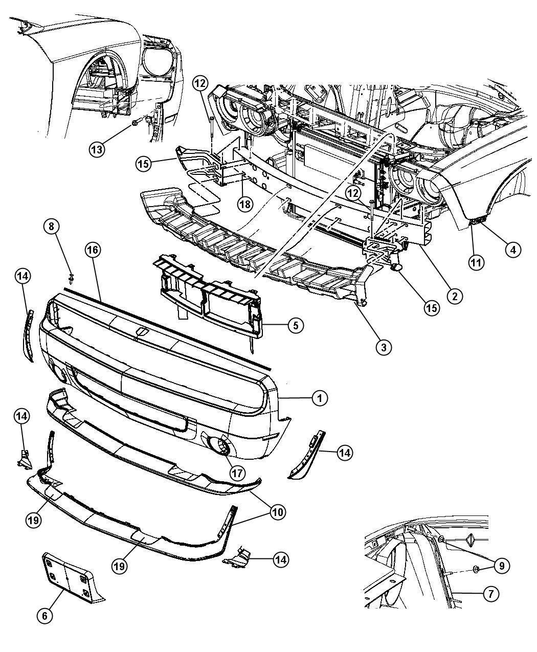 2011 Dodge Challenger Fascia. Front. Primed. [mf4], [lnj