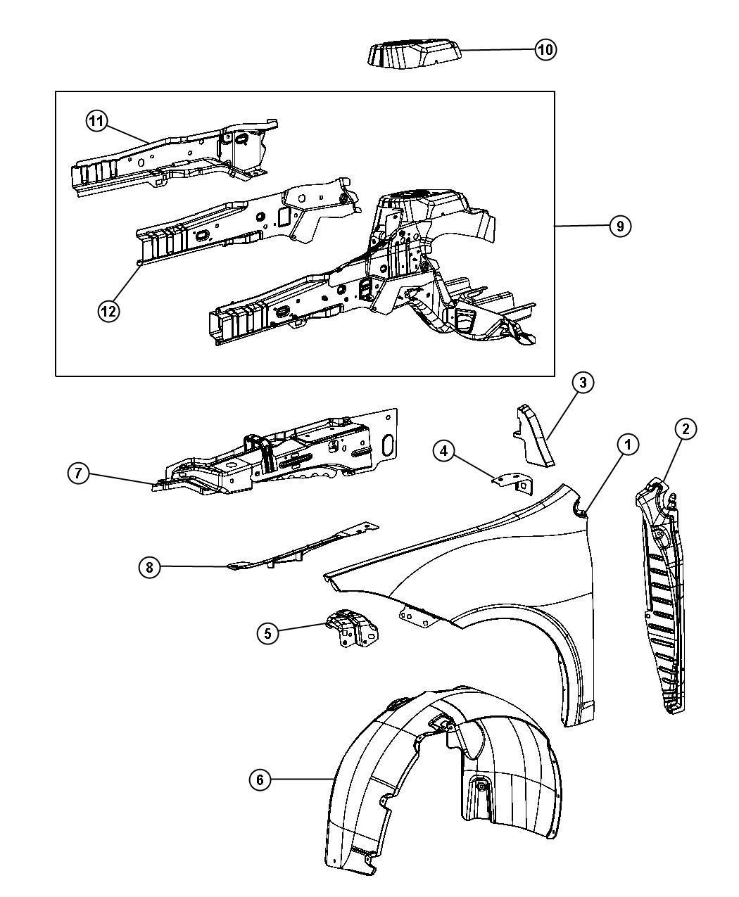 2013 Dodge Dart Screw. Up to 12/15/2014. Front, fenders