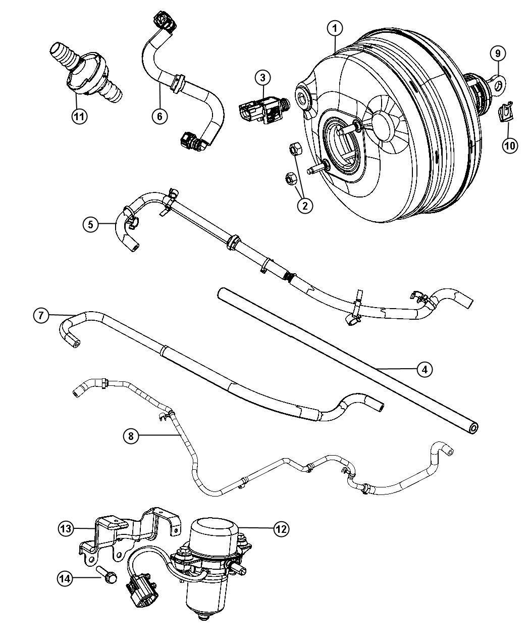 Chrysler 300 Hose. Brake booster vacuum. Maintenance