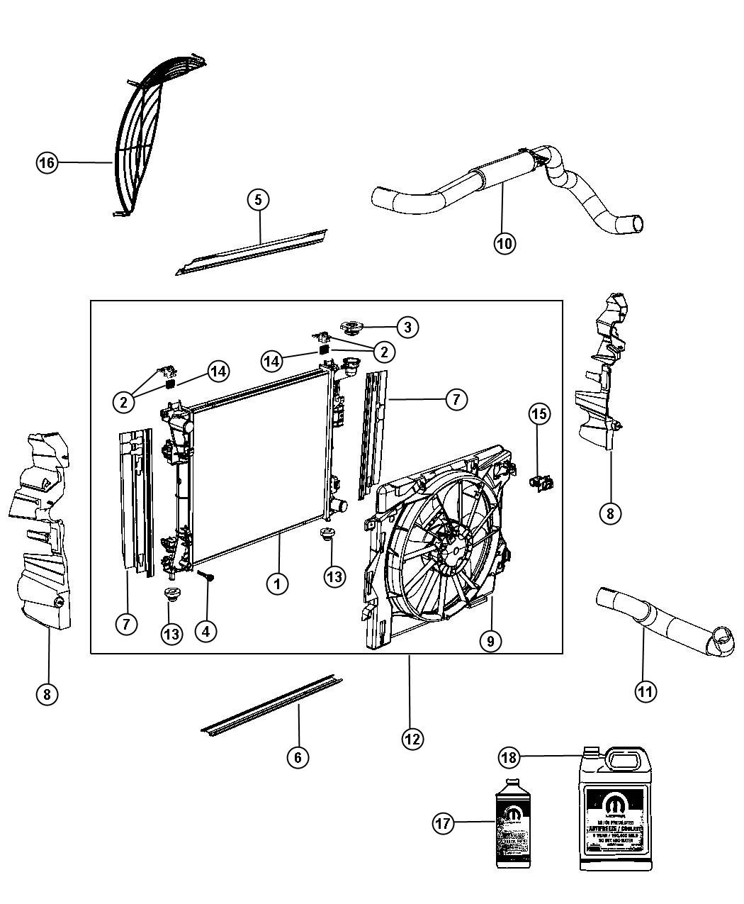 2009 Dodge Grand Caravan Seal. Radiator lower. Module, end