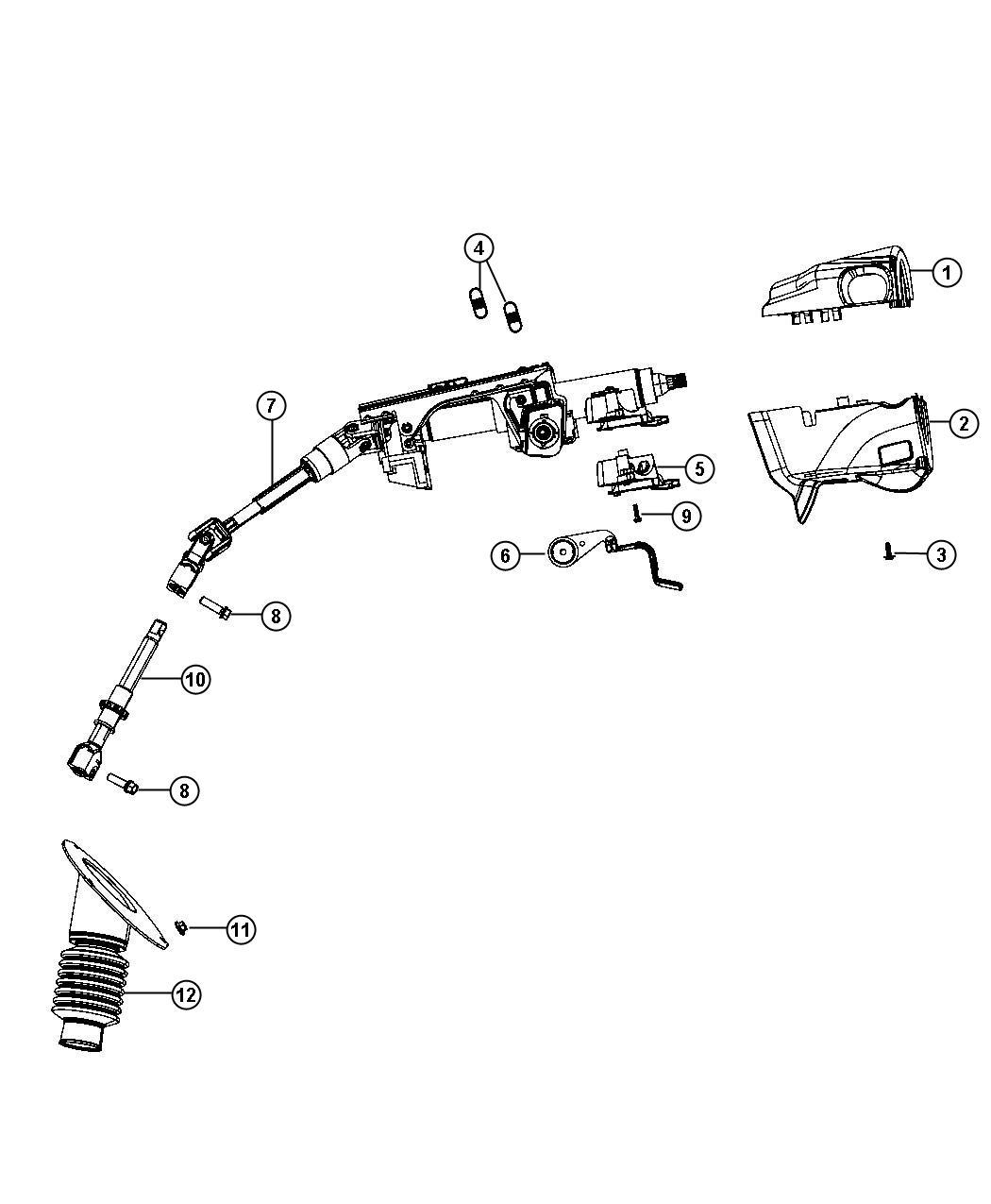 2013 Dodge Grand Caravan Column. Steering. Tilt, telescope