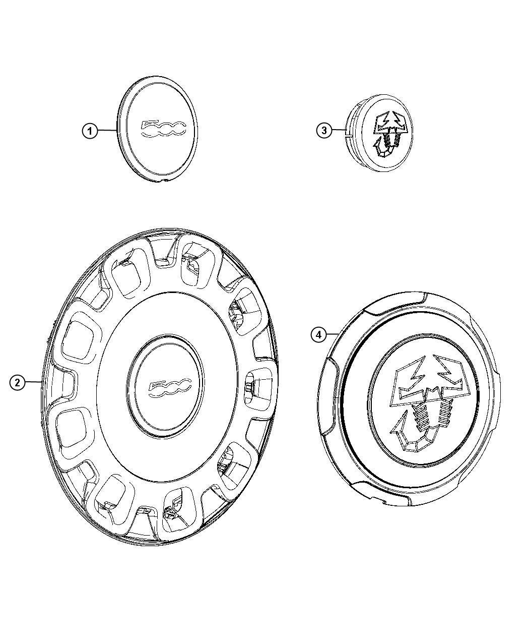 2013 Fiat 500C Cover. Wheel. [15 wheel covers