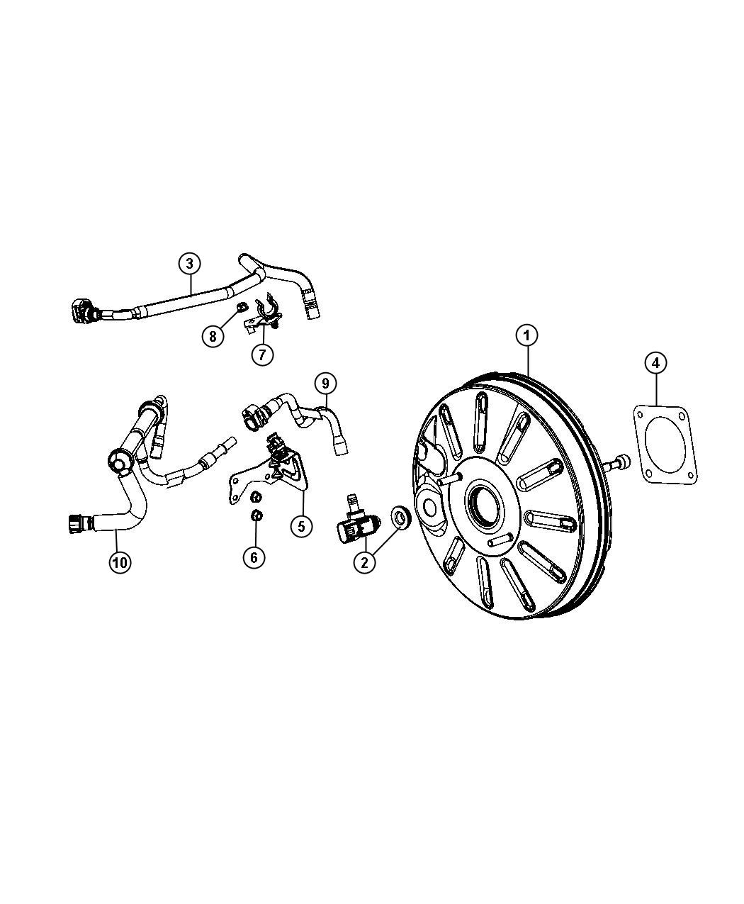 2013 Dodge Dart Hose. Brake booster vacuum. Engine, power