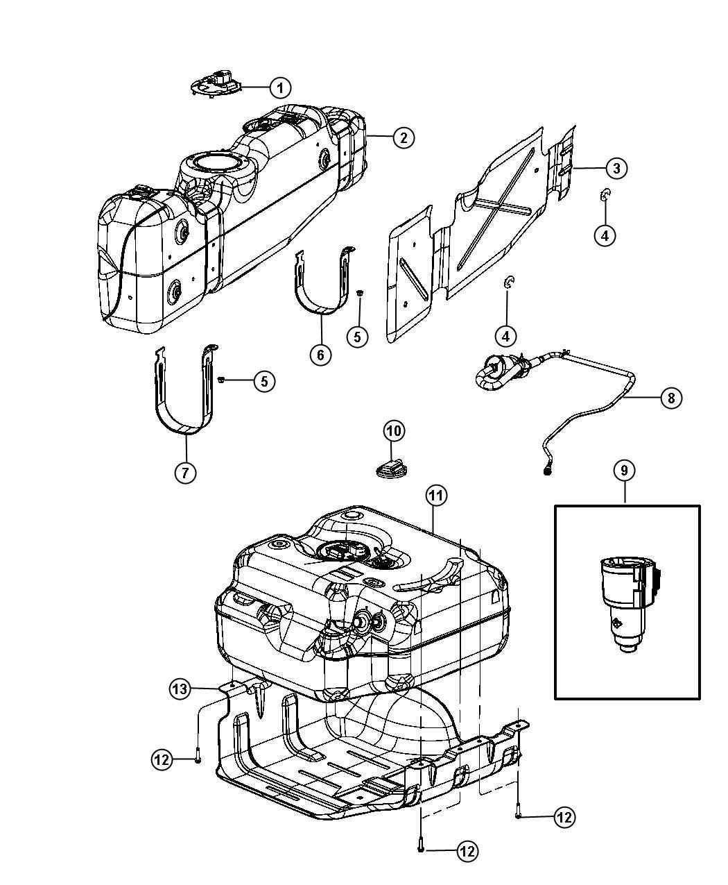Dodge Ram Tube Fuel Vapor 52 Gallon Rear Fuel