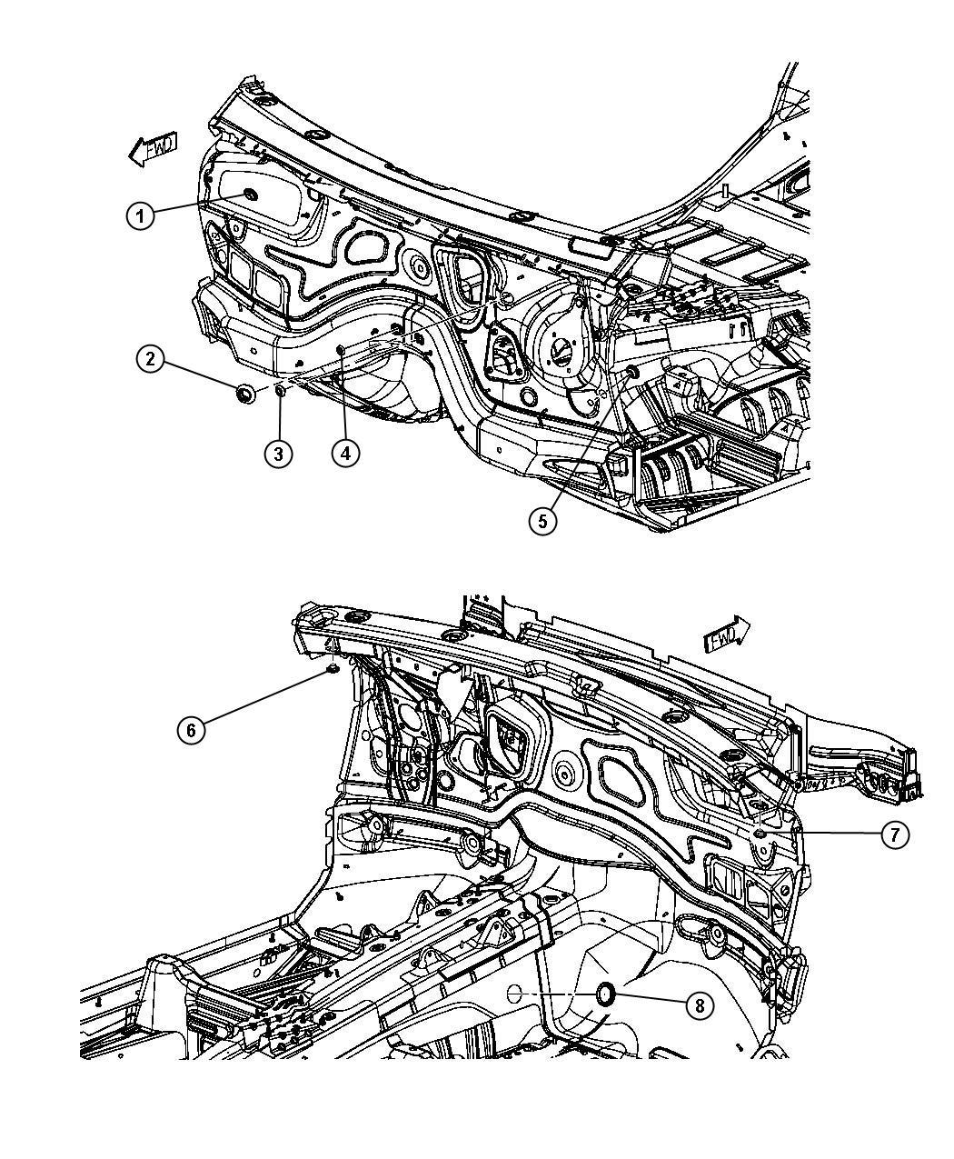 2013 Jeep Grand Cherokee Plug. Floor pan. Front floor pan