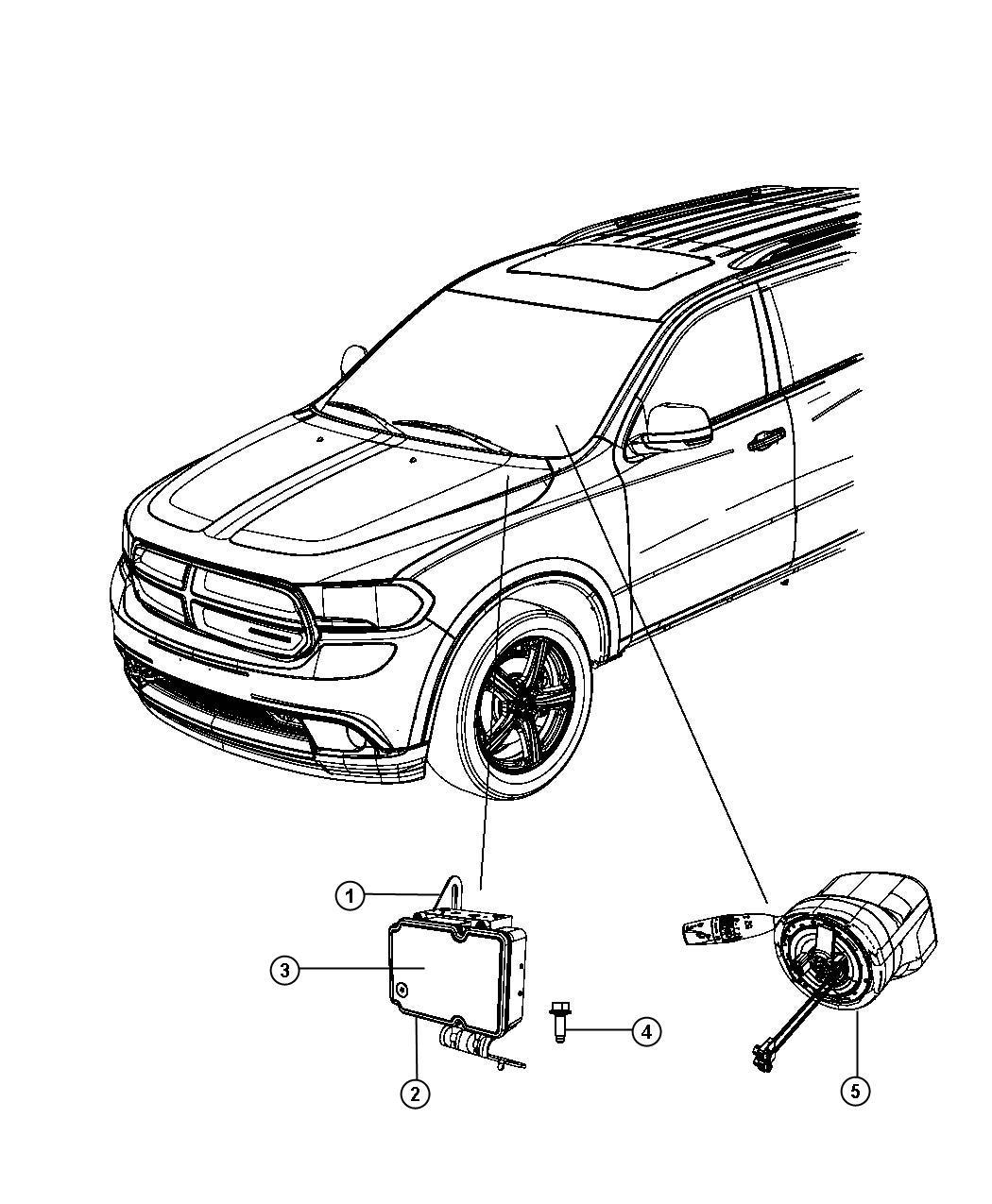 2013 Dodge Durango Module. Anti-lock brake system. Control
